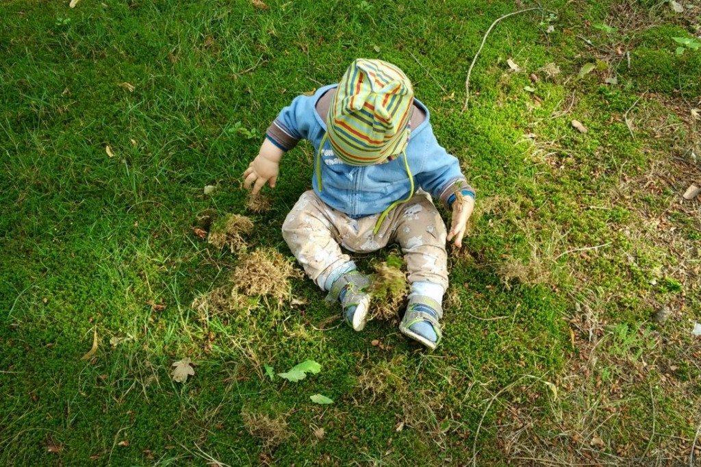 Oder lässt mich im Gras nach Moos graben.