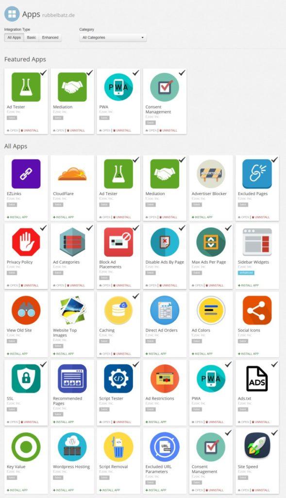 Auswahl der verfügbaren Apps von Ezoic