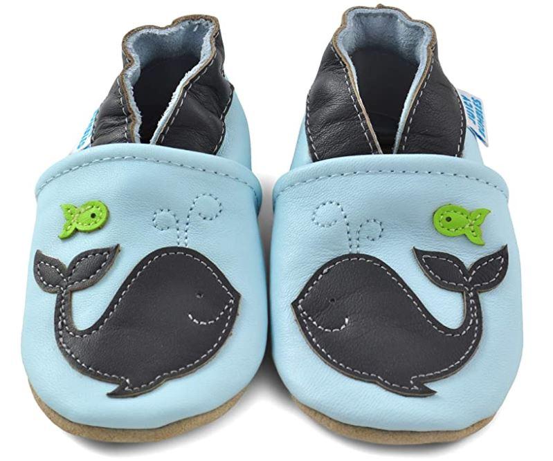 Blaue Lauflernschuhe für Babys aus Wildleder