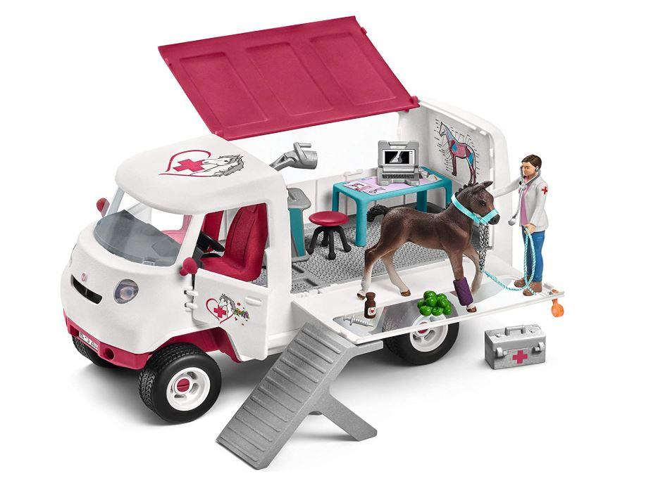 Tierarzt mit Wohnwagen und Pferd Spielfiguren von Schleich